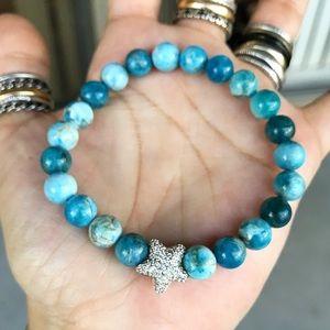 Boho blue hemimorphite gems cz star bracelet